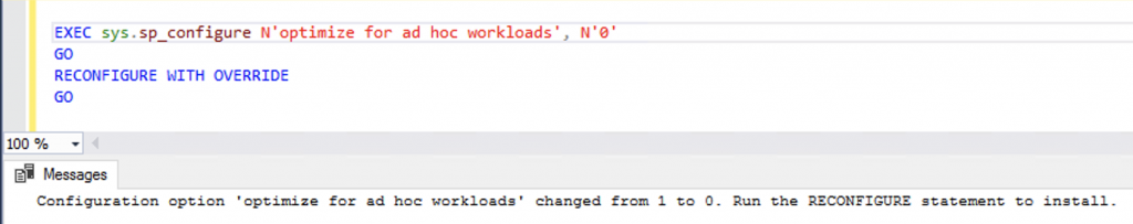 optimize for ad hoc workloads = OFF